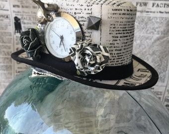 Steampunk Mini Top Hat Fascinator -Newsprint with Clock and Embellishments