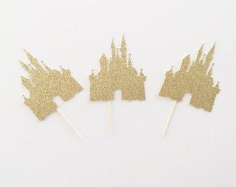Princess Cupcake Toppers-  Princess Birthday- Castle Cupcake Toppers- Castle Topper- Princess Topper- Princess Party Decor- Birthday