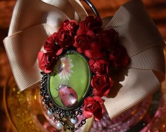Ladybug flowers pearls headband