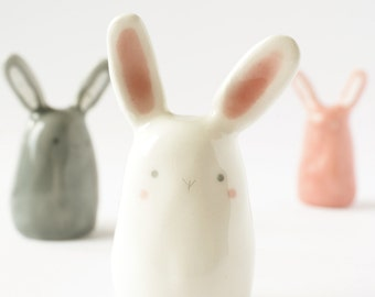Easter bunny figurine ceramic Rabbit miniature, Clay bunny figurine ceramic rabbit sculpture Kawaii ceramic Pottery animal totem.