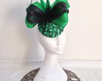 Ladies green and black fascinator headpiece