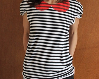Women's Striped Printed Jersey Top