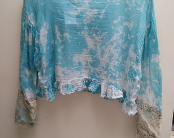 Individual Design Hand Made Bleached Blue Top