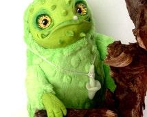 FANTASY PLUSH ANIMALS Prickly Jack Ooak Fantasy Creature Doll Art Frog Sculpture Ooak Doll Art Fantasy Sculpture Monster Toy Ooak