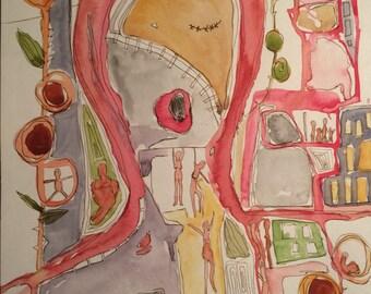 Commute- Watercolor- Women- Pen and Ink- Original