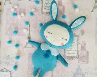 Bunny Rabbits Felt-Personalized bunny doll-Bunny Rabbits toys-Stuffed felt animal-Nursery animals felt-Stuffed rabbit toy-Baby Gift