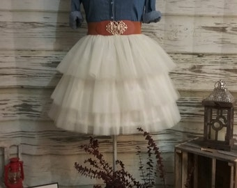 Free Shipping to USA Custom Made Ivory Tulle Skirt-Ivory Three  Tiered Tulle Skirt - Country Wedding,Rustic Wedding for Bridesmaid