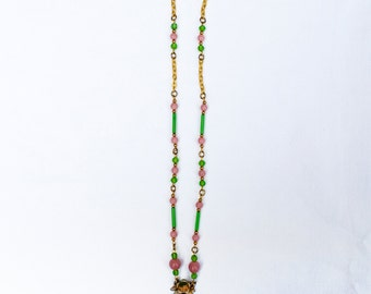 Necklace with 1930s Drop and Glass Beads
