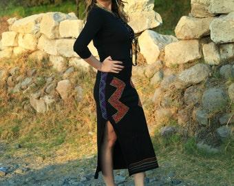 Handmade Shipibo Embroidered Cotton Side Slit Peruvian Ceremonial Goddess Priestess Skirt