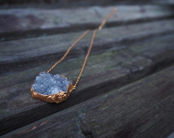 24k Gold Dipped Druzy Crystal Necklace in Grey Blue