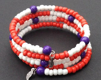 Memory Wire Bracelet Purple White Orange