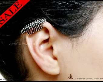 Gothic punk spine and Rib Cage Cuff Earrings without pierced,Anatomical Cuff Earrings,
