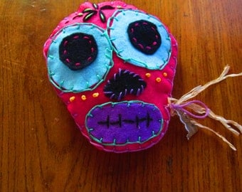 Day of the Dead lavender sachet in pink. Custom colors available. Contact me.