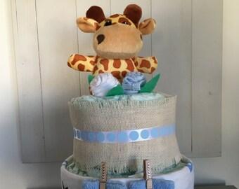 Vintage Giraffe Nappy Cake Baby Boy