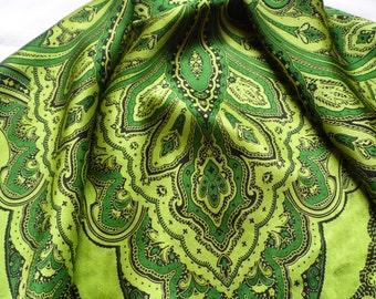 beautiful green Codello SILK vintage Scarf / shawl 100% silk