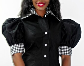 Puffy Sleeve Button Down Blouse