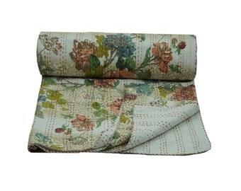 Floral Print Kantha Quilt,Handmade Cotton Kantha Blanket,Queen Size Kantha Bedspread