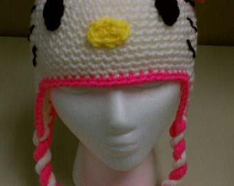 Hello Kitty Crochet Hat with Ears and Bow - Beanie with Earflaps and Twisted Braids - Toddler / Child / Teen / Adult - Made to Order
