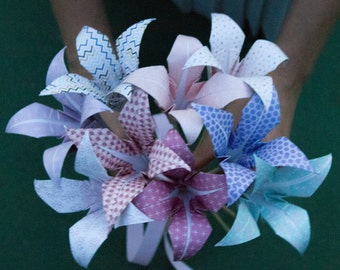 Origami flower bouquet pastels