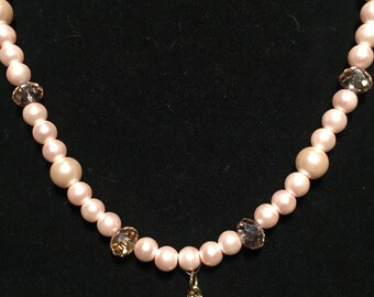 Beaded Pearls with Flower Charm
