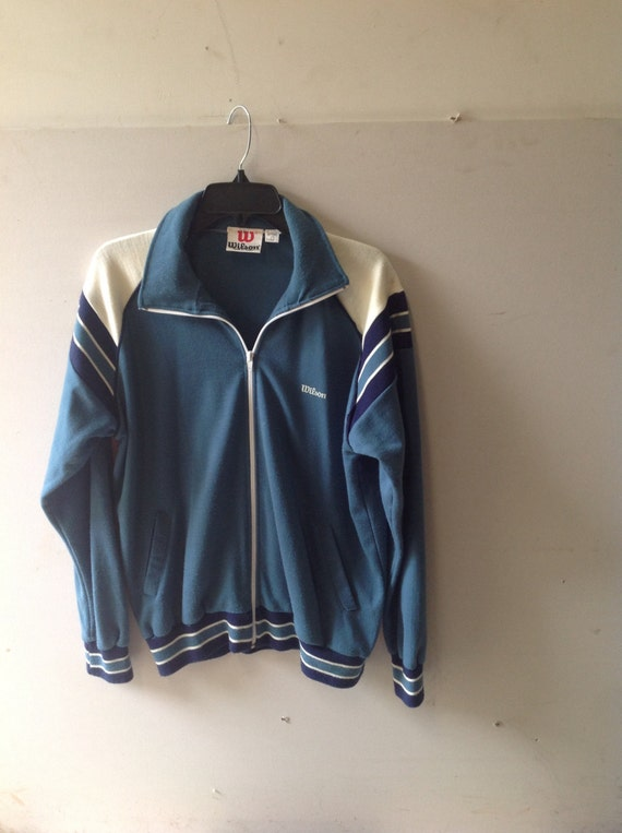 Vintage 70s WILSON brand track jacket, athletic, navy blue, teal, sports jacket, zip up. With collar. Size Large (unisex adults)