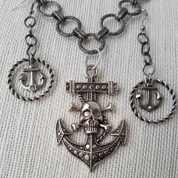 Pirate and anchor pendant necklace and earring set