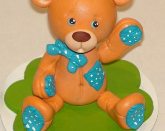 Baby Boy Teddy Bear Cake Topper