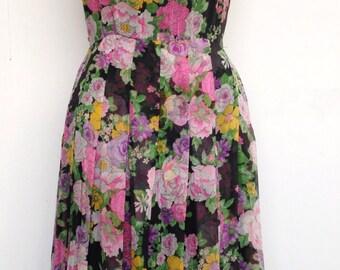 Vintage 60s Rizkallah Don Friese silk chiffon floral dress
