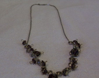 Silver Metal Wire Wrapped Necklace with Purple Beads