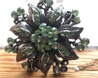 Vintage Flower Brooch with Green Rhinestones, Vintage Jewelry, Rhinestone Brooch, 1980s, 25% Opening Discount