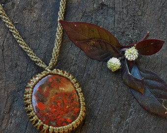 Poppy Jasper Macrame Necklace