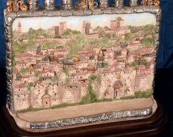 One of a Kind - Ceramic  Jerusalem Menorah displaying Jerusalem Skyline
