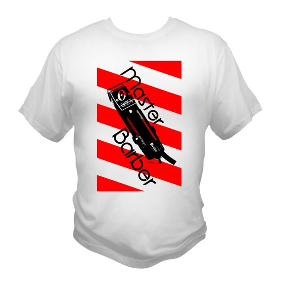 Master Barber T-Shirt White Red Barber Pole Oster 76 Clippers