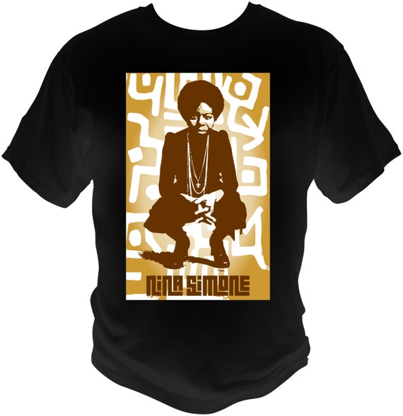 Nina Simone black T-Shirt With tribal Background See line Woman