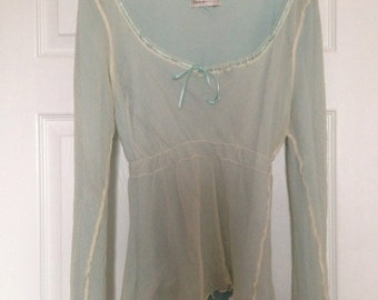 80s Vintage George Collection Blue/green Blouse UK Size 14 (more like 12)