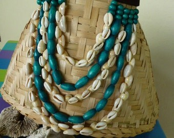 Delivered 48 - Beaded necklace wood - shells cowries - multi - strand necklace - bib - blue turquoise