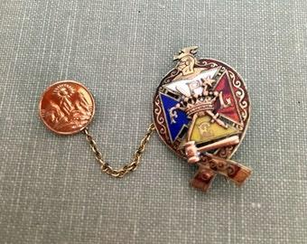 Antique Knights of Pythias pin // Pythian Sisters pin // Vintage Masonic // fraternal organization jewelry //