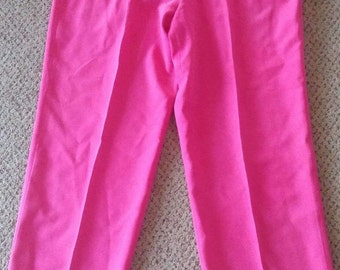 Women's Hot Pink Allison Taylor 100% Silk Pants Size S Stretch Waist Casual, Work, Career, Business, Everyday