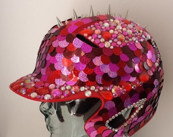 Valentyne -- Red Sequin, Rhinestone Spiked Helmet, Festival Hat, Burning man, Rave Festival, Party Hat