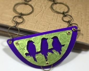 Three Bird Silhouette necklace