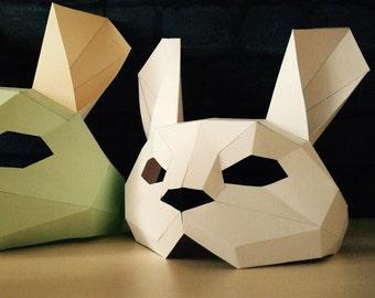 Rabbit Mask/Animal Head/Paper Mask/DIY Easter Mask/Easter Bunny/Paper Rabbit Mask/DIY kit rabbit mask/Rabbit paper kit
