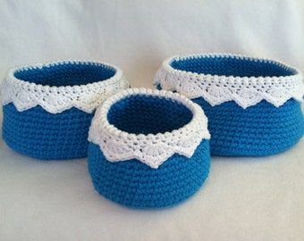 Lace-Topped Kitchen Baskets, blue and white crochet, set of 3