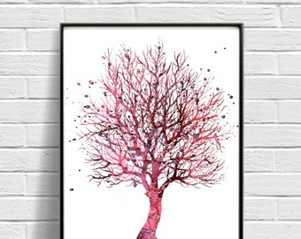 Watercolor Art Print, Tree Painting, Home Wall Décor, Nature Art Printable, INSTANT DOWNLOAD