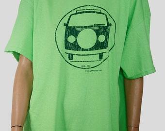 VW Bus size Adult X/LRG Lt. Green/Chrome Green t-shirt.