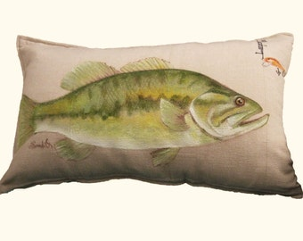 "LARGE MOUTH BASS, Fathers Day, Fish Pillow Cover, Gift For Him, Hand Painted Pillow Sham (12"" x 20"")"
