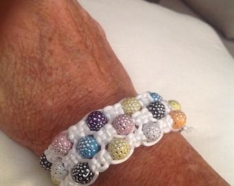 Macrame Triple Strand Glitter Bracelet