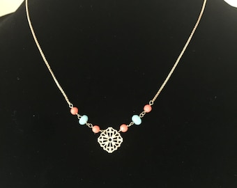 Gold Plated Necklace with Amazonite and Coral Podange Gemstones