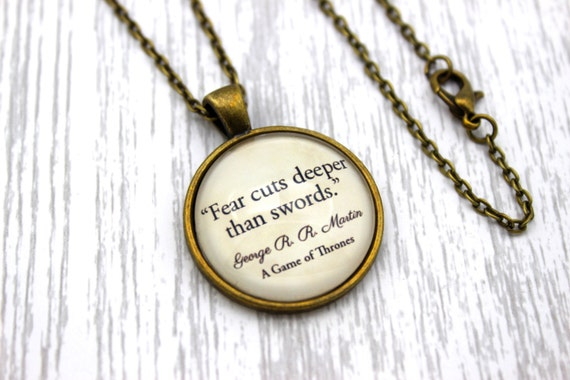 Game of Thrones, Arya Stark, 'Fear Cuts Deeper Than Swords', George R. R. Martin Quote Necklace or Keychain, Keyring.