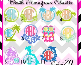 Beach Themed Monogram Vinyl Decal |  Monogram Vinyl | Car Decal | Monogrammed Vinyl Decal | Gift for Her | Gift for Him | Cup Decal