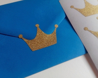 20 glitter crown stickers, princess party decor, 1st Birthday decor, gold glitter crowns, crown envelope seal, glitter wall stickers